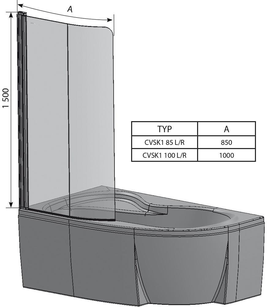 RAVAK CVSK1 ROSA 140/150 Balos egyrészes kádparaván fehér kerettel / TRANSPARENT edzett biztonsági üveggel / 7QLM0100Y1