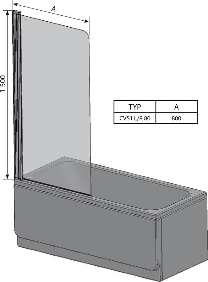 RAVAK CVS1-80 Jobbos kádparaván fényes alumínium kerettel / TRANSPARENT edzett biztonsági üveggel 80 cm / 7QR40C00Z1