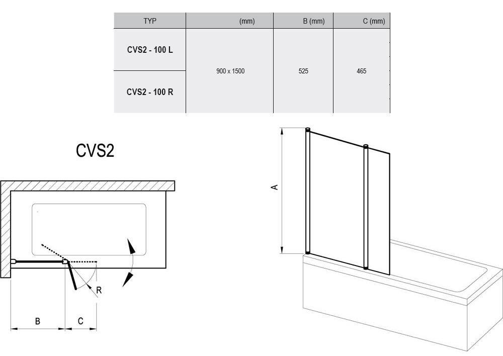 RAVAK CVS2-100 Jobbos kádparaván fényes alumínium / króm hatású kerettel / TRANSPARENT edzett biztonsági üveggel 100 cm / 7QRA0C00Z1