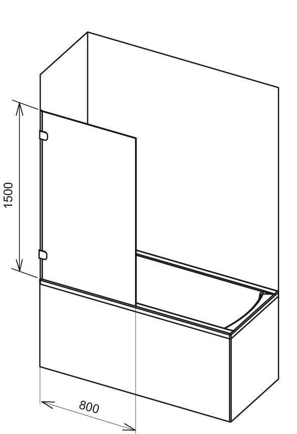 RAVAK BVS1-80 Egyrészes kádparaván + B SET / króm kerettel / TRANSPARENT edzett biztonsági üveggel 80 cm / 7U840A00Z1 + D01000A070