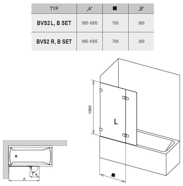 RAVAK BVS2-100 Kétrészes balos kádparaván + B SET / króm kerettel / TRANSPARENT edzett biztonsági üveggel 100 cm / 7ULA0A00Z1 + D01000A072