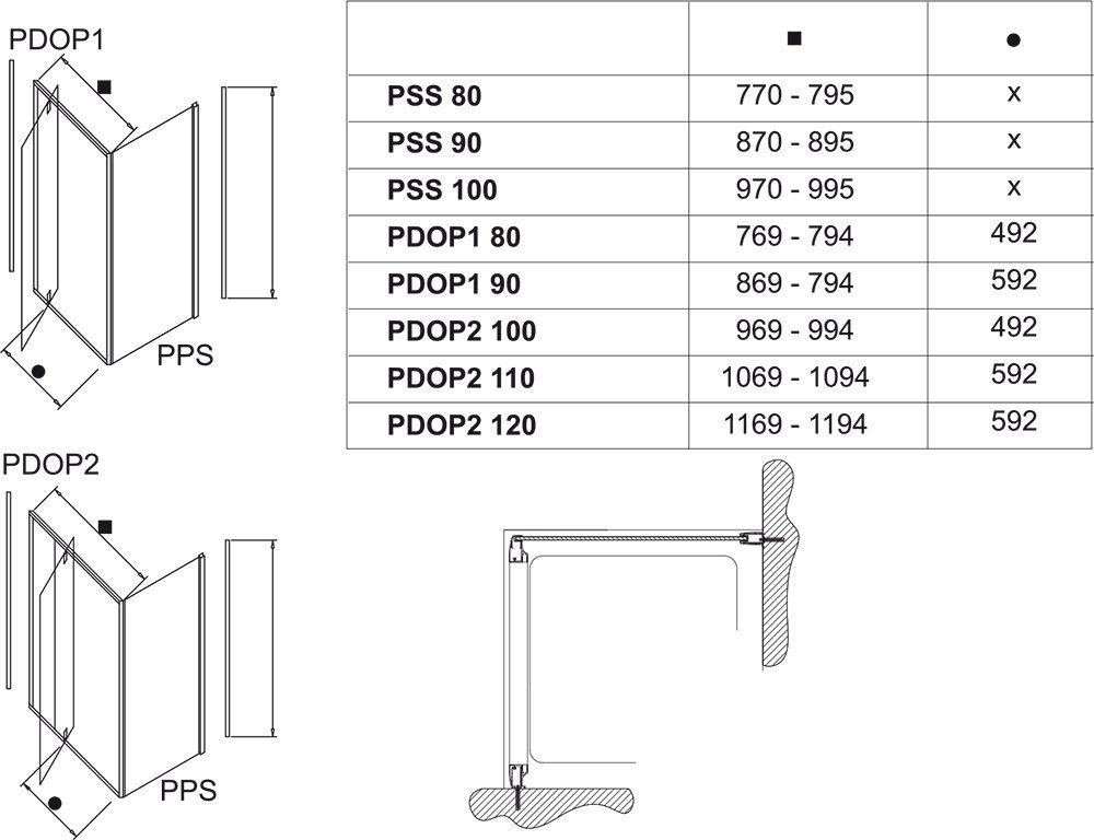 RAVAK Pivot PPS-90 Fix oldalfal Pivot zuhanyajtóhoz fehér kerettel / TRANSPARENT edzett biztonsági üveggel 90 cm / 90G70100Z1
