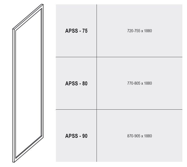 RAVAK SUPERNOVA APSS-75 Fix oldalfal szatén kerettel / PEARL műanyag (plexi) betétlemez, 75 cm-es / 94030U0211