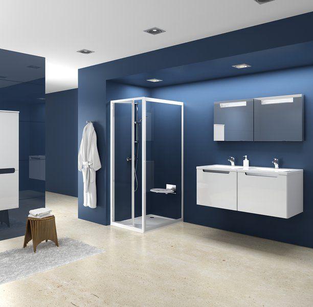RAVAK SUPERNOVA PSS-90 fix zuhanykabin oldalfal fehér kerettel / PEARL műanyag (plexi) betétlemez, 90 cm / 9407010011