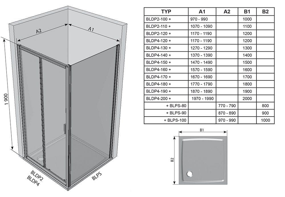 RAVAK Blix BLPS-80 fix oldalfal  fehér kerettel / GRAPE edzett biztonsági üveggel  80 cm / 9BH40100ZG