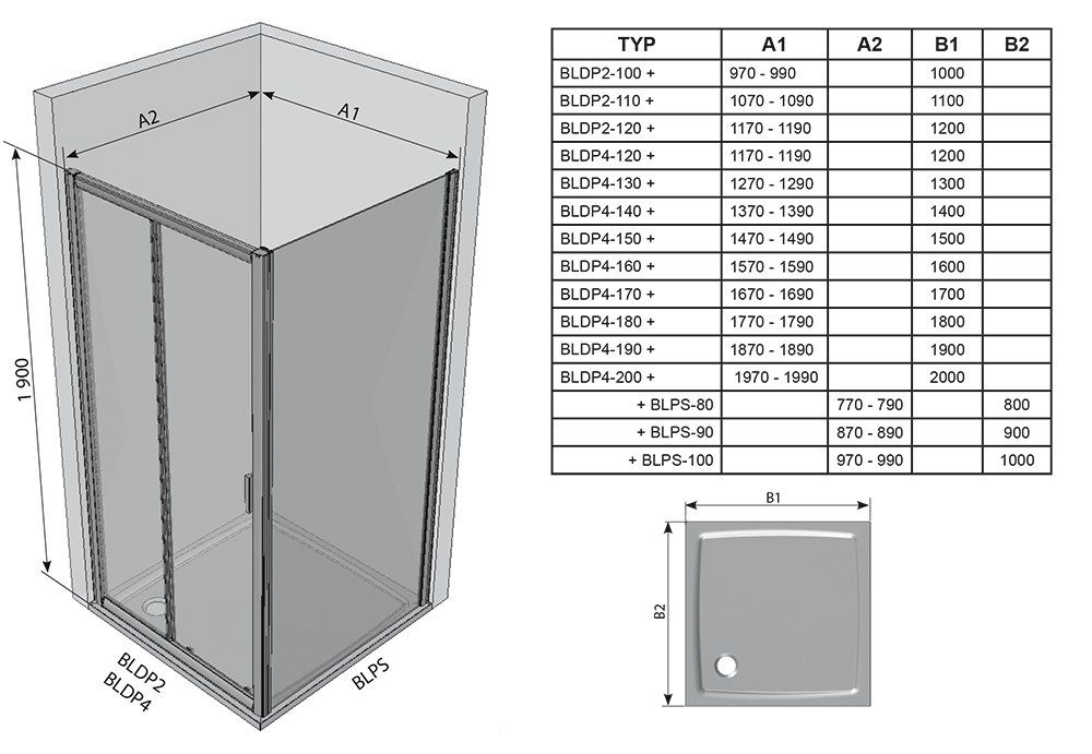 RAVAK Blix BLPS-90 fix oldalfal  fehér kerettel / TRANSPARENT edzett biztonsági üveggel  90 cm / 9BH70100Z1