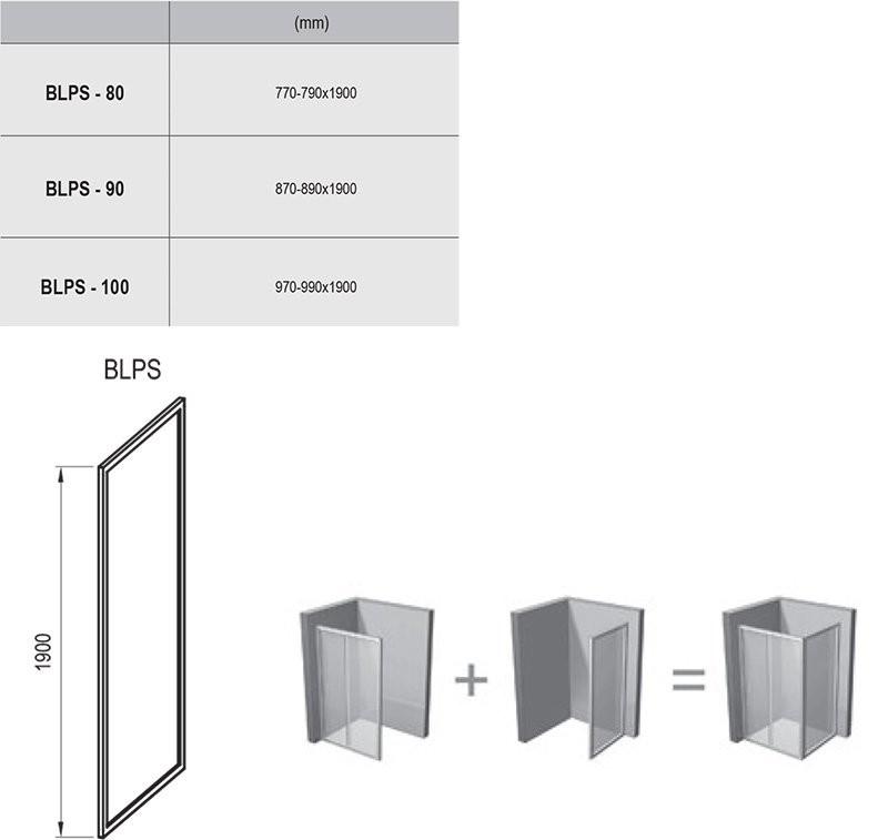 RAVAK Blix BLPS-90 fix oldalfal  fényes alumínium kerettel / TRANSPARENT edzett biztonsági üveggel  90 cm / 9BH70C00Z1
