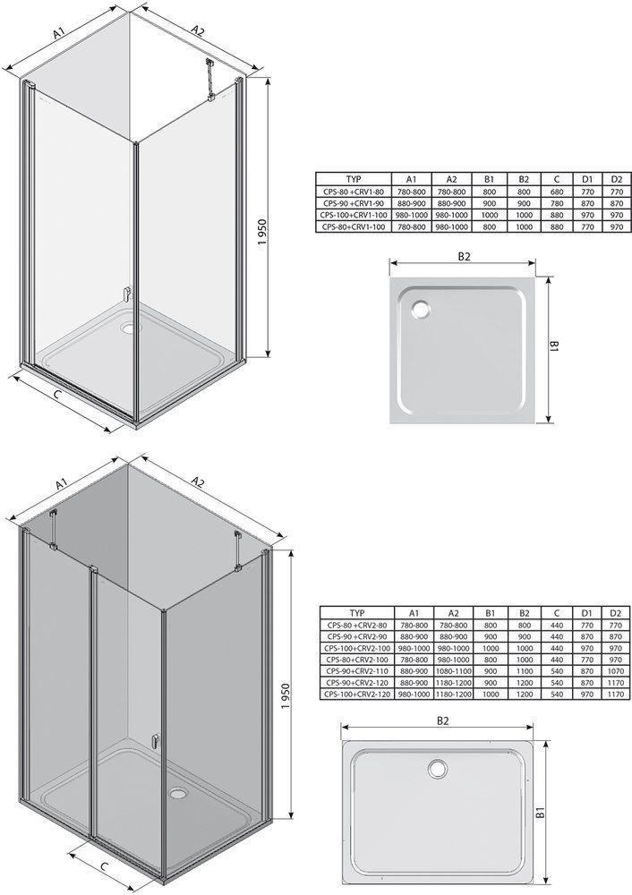 RAVAK Chrome CPS-90 Egy részes fix oldalfalak fehér kerettel / TRANSPARENT edzett biztonsági üveggel 90 cm / 9QV70100Z1