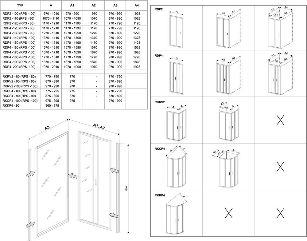RAVAK Rapier RPS-100 fix oldalfalak NRDP2 vagy NRDP4 zuhanyajtókhoz szatén kerettel / GRAPE edzett biztonsági üveggel  100 cm / 9RVA0U00ZG