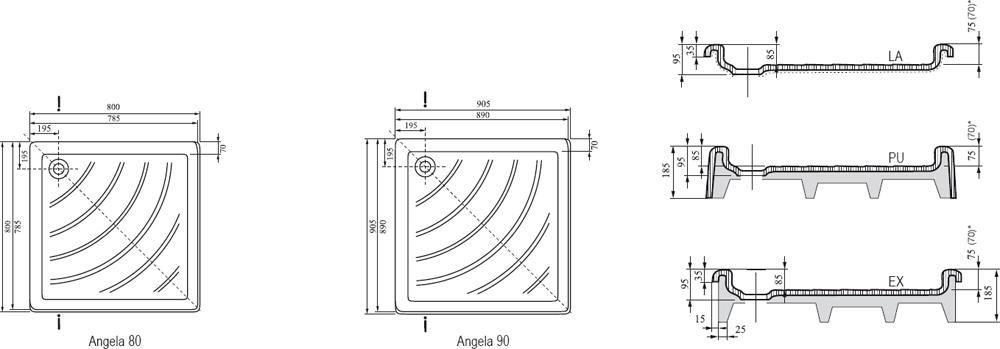 RAVAK KASKADA Angela 90 PU négyzet alakú / szögletes, 90 x 90 cm-es akril zuhanytálca, antibakteriális felület, fehér, A007701120