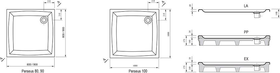 RAVAK GALAXY Perseus 80 PP négyzet alakú / szögletes, 80 x 80 cm-es akril zuhanytálca, antibakteriális felület / fehér / A024401510