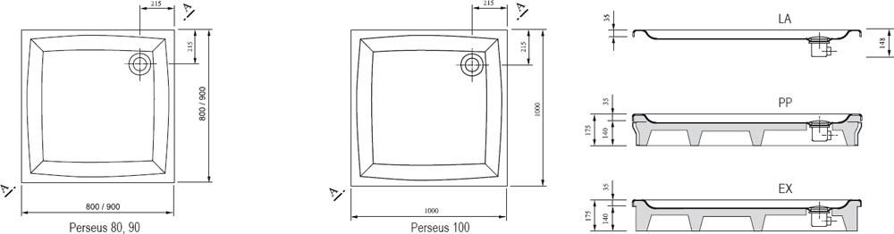 RAVAK GALAXY Perseus 90 LA négyzet alakú / szögletes, 90 x 90 cm-es akril zuhanytálca, antibakteriális felület / fehér / A027701210