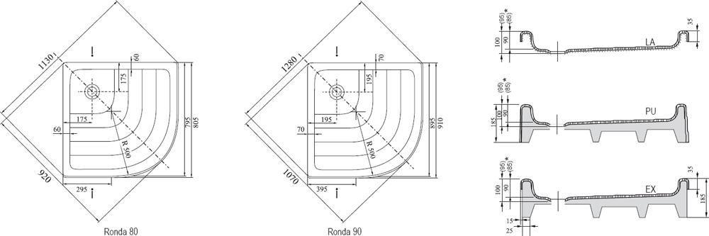 RAVAK KASKADA Ronda 80 PU negyedköríves/ íves 80 x 80 cm-es akril zuhanytálca, antibakteriális felület, fehér / A204001120