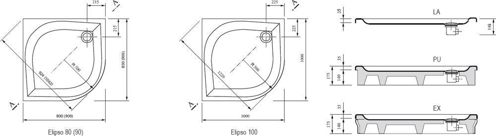 RAVAK GALAXY Elipso 80 EX negyedköríves zuhanytálca, 80 x 80 x 70 cm-es, antibakteriális felület / fehér / A224401310