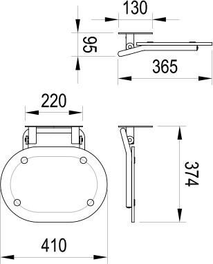 RAVAK CHROME, Zuhanykabin / zuhany ülőke CLEAR /fehér , B8F0000028