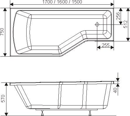 RAVAK KÁD BEHAPPY / BE HAPPY 160x75 cm aszimmetrikus akrilkád, JOBBOS kivitel / C161000000