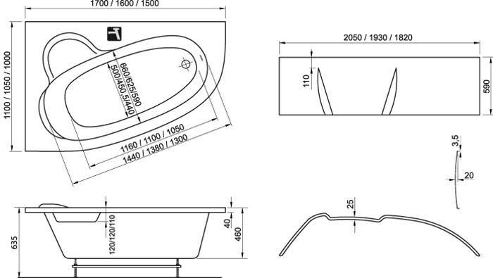 Ravak Asymmetric kád 150x100 cm balos ASZIMMETRIKUS akrilkád / C441000000