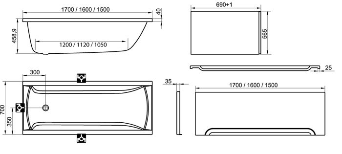 RAVAK KÁD CLASSIC 170x70 cm FEHÉR, egyenes, szögletes / C541000000