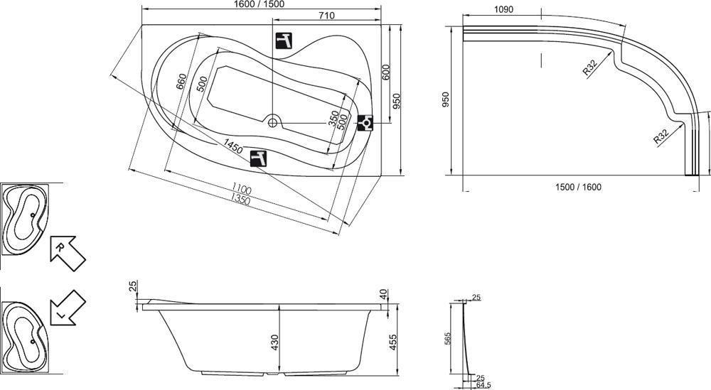 RAVAK Rosa 95 akrilkád 160 x 95 Aszimmetrikus / balos / hófehér / C571000000