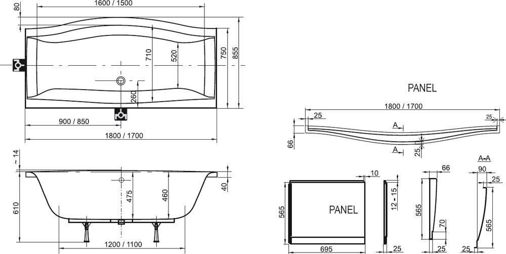 RAVAK KÁD MAGNOLIA 180x75 cm akrilkád, szögletes, cikkszám: C601000000