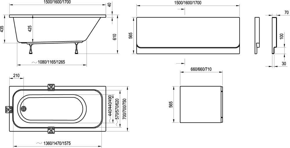 RAVAK CHROME KÁD / akrilkád 170x75 cm fehér, egyenes kád, alul ovális / C741000000