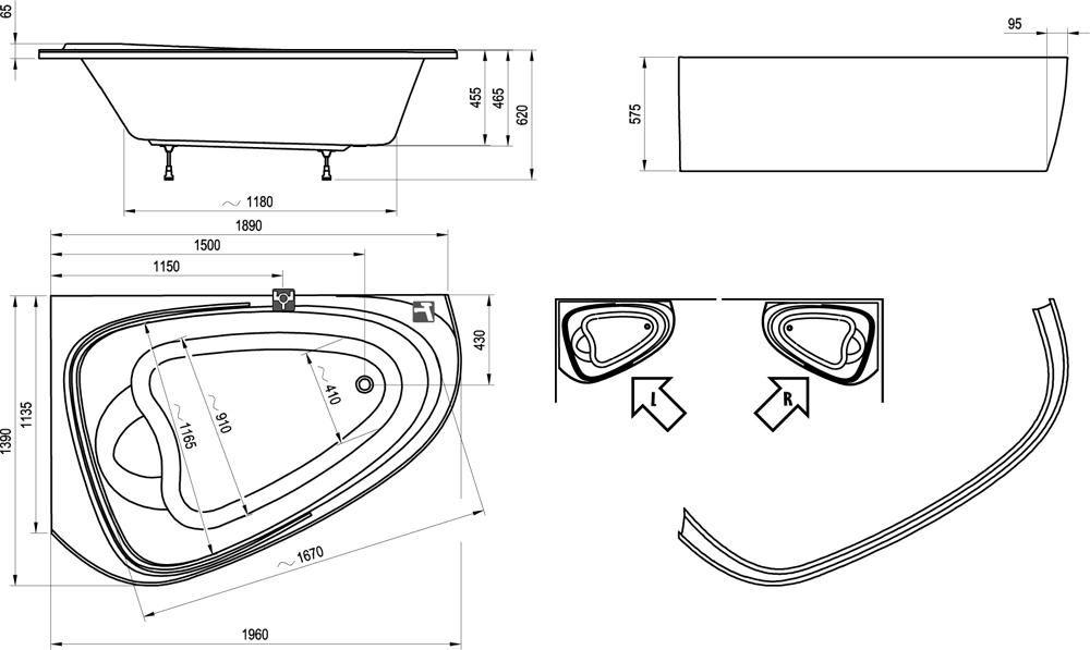 RAVAK LoveStory II PU Plus 139x196 cm aszimmetrikus akrilkád / kád, jobbos / hófehér / C781000000