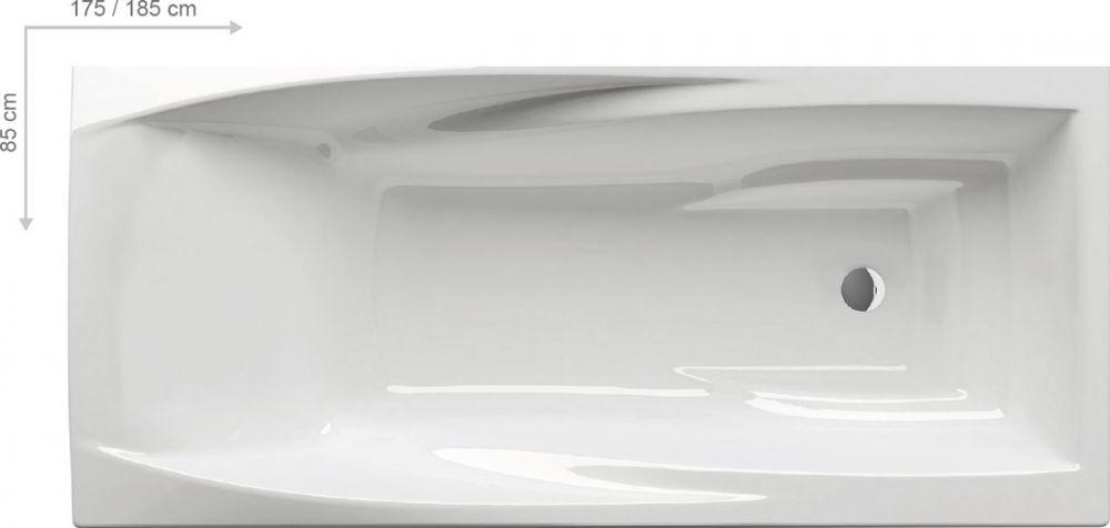 RAVAK YOU Akrilkád / kád  175 x 85 cm-es, szögletes, ergonomikus, N fehér/ C791000000