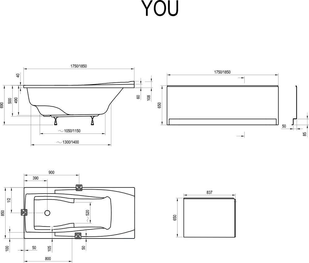 RAVAK YOU Akrilkád / kád, 175 x 85 cm-es, N túlfolyó nélkül, ergonomikus, fehér/ C791200000