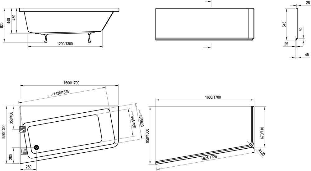 RAVAK 10° akril fürdőkád 160 x 95 cm-es / balos / 10 fok / snowwhite / hófehér / L fehér, C831000000