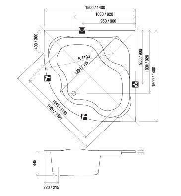 RAVAK GENTIANA szimmetrikus sarokkád / kád, 140x140 cm-es, akrilkád / CF01000000