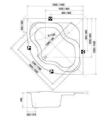 RAVAK GENTIANA szimmetrikus sarokkád / kád, 150x150 cm-es, akrilkád / CG01000000