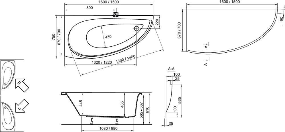 RAVAK Avocado aszimmetrikus sarokkád / akrilkád / kád, 160x75 cm-es, jobbos / CH01000000