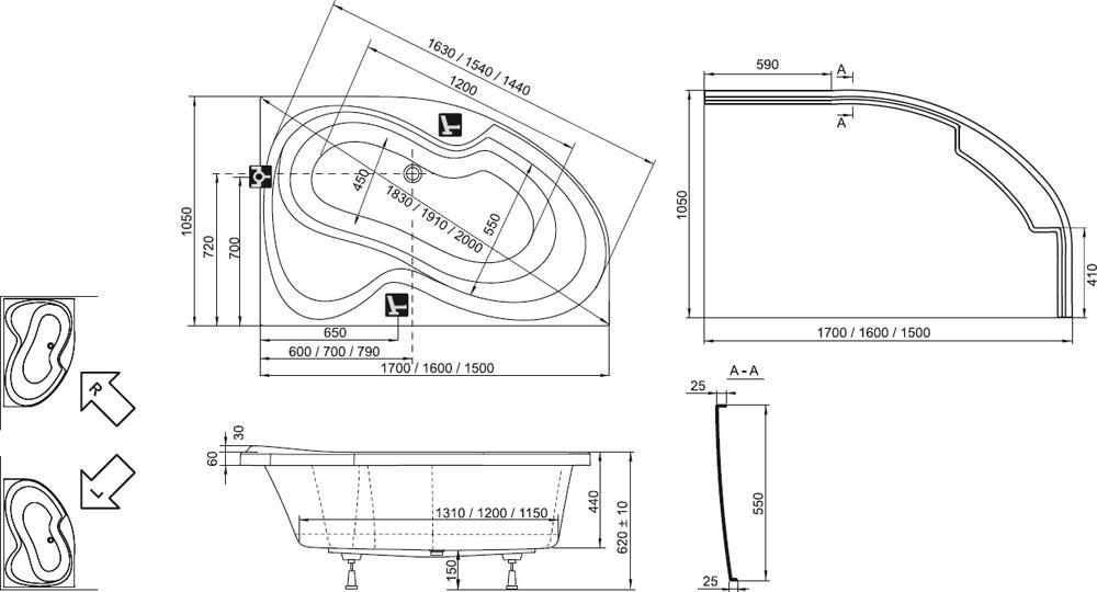 RAVAK Rosa II PU Plus Aszimmetrikus akrilkád /kád, 160 x 105 cm-es, balos, fehér  / CL210P0000