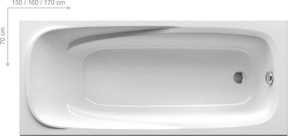 RAVAK Vanda II szögletes, egyenes akrilkád / kád, 160 x 70 cm-es, hófehér / fehér, CP11000000