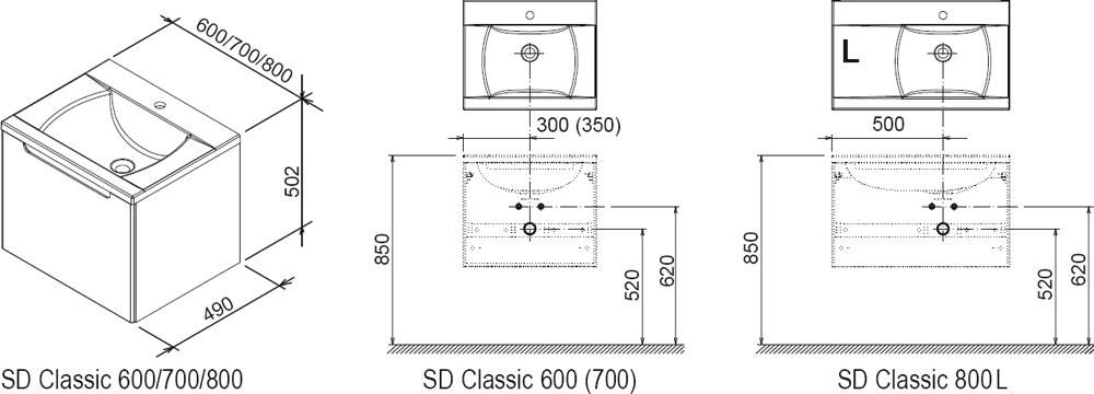 RAVAK SD 600 Classic szekrény a mosdó alá (nyír/fehér) / Cikkszám: X000000303