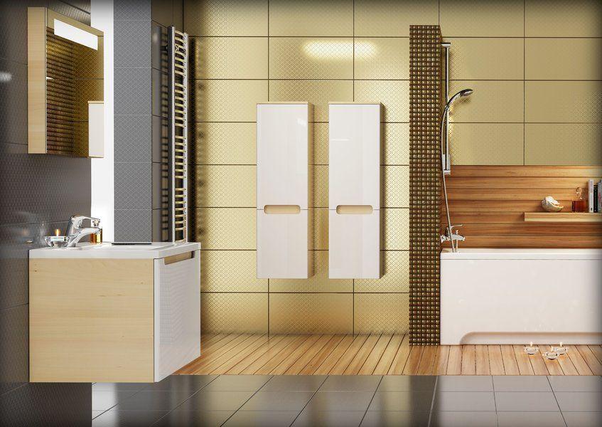 RAVAK SB-350 Classic oldalsó magas szekrény, jobbos (nyír/fehér) / Cikkszám: X000000310