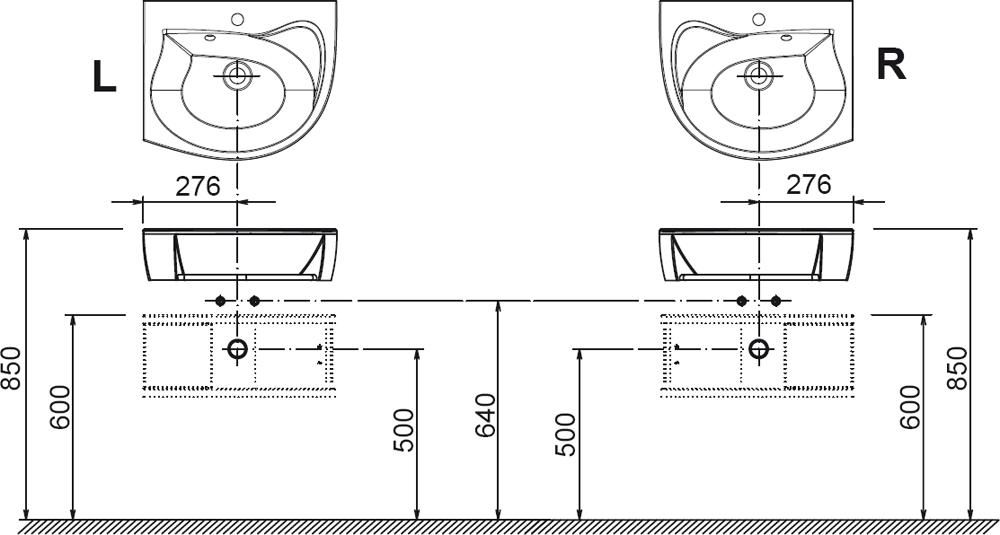 RAVAK SDU Rosa szekrény mosdó alá, balos (fehér/fehér) / Cikkszám: X000000326