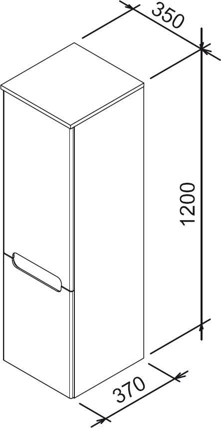 RAVAK SB-350 Classic oldalsó magas szekrény, jobbos (fehér/fehér) / Cikkszám: X000000355
