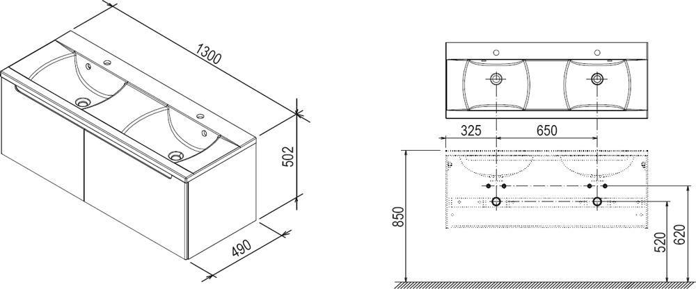 RAVAK SD 1300 szekrény a Classic dupla mosdó alá (nyír/fehér) / Cikkszám: X000000423