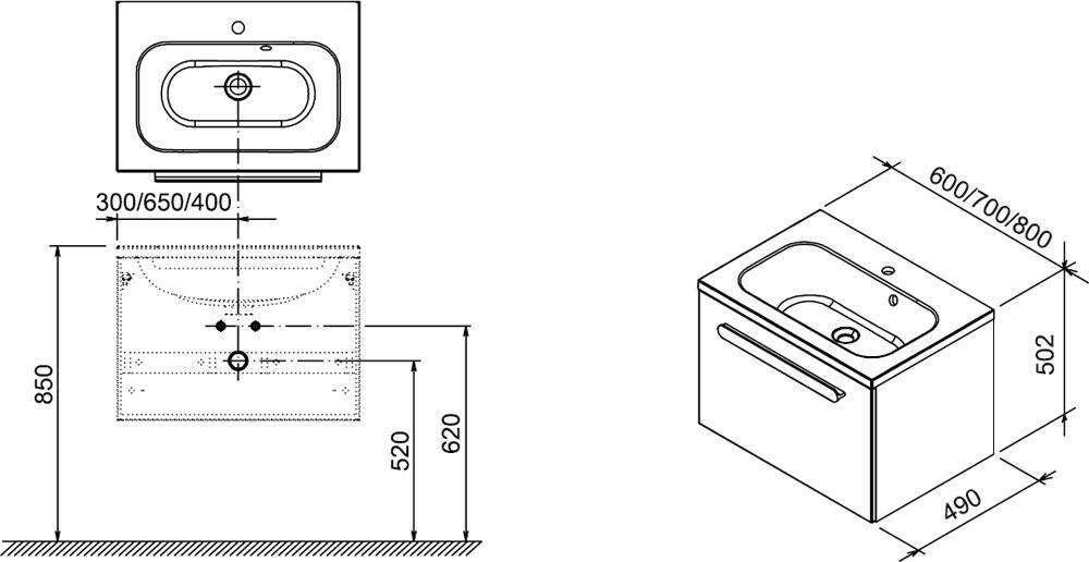 RAVAK SD 700 Chrome szekrény a mosdó alá (fehér/fehér) / Cikkszám: X000000532