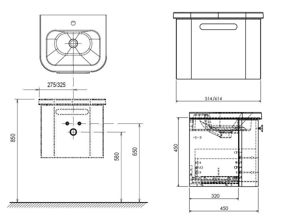 RAVAK SD Chrome 650 mosdó alatti szekrény / fürdőszobaszekrény Chrome mosdókhoz 615 x 450 x 450 mm, szürke, cikkszám: X000000638