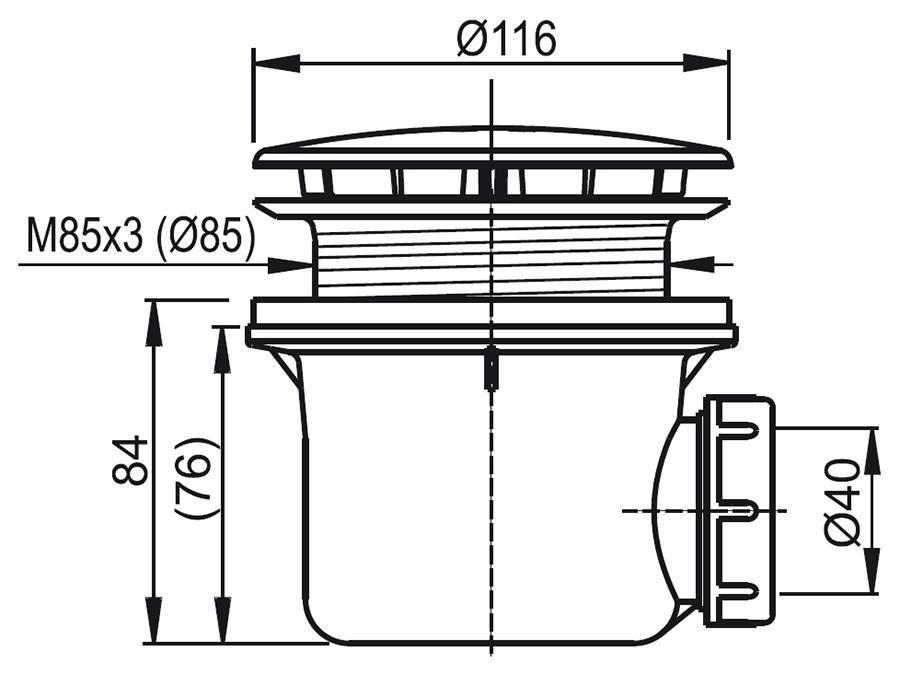 RAVAK Standard 90 zuhanytálca szifon / króm / X01314