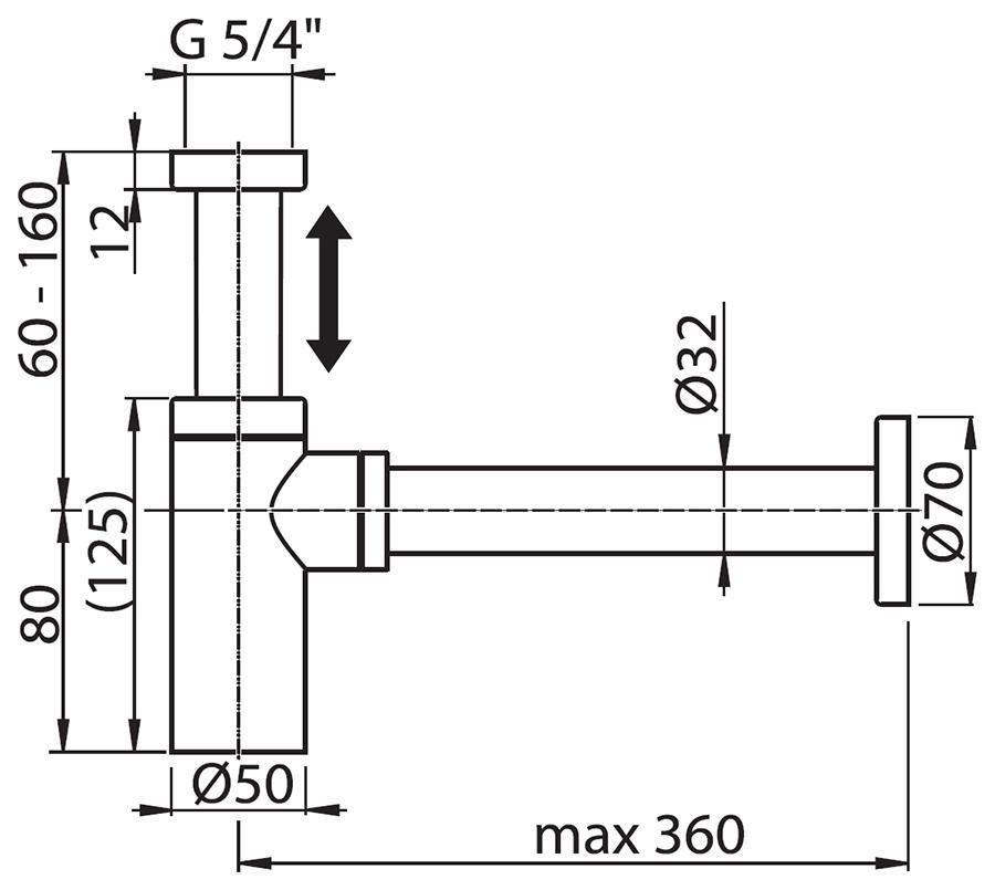 RAVAK Krómozott teleszkópos mosdószifon, cikkszám: X01371