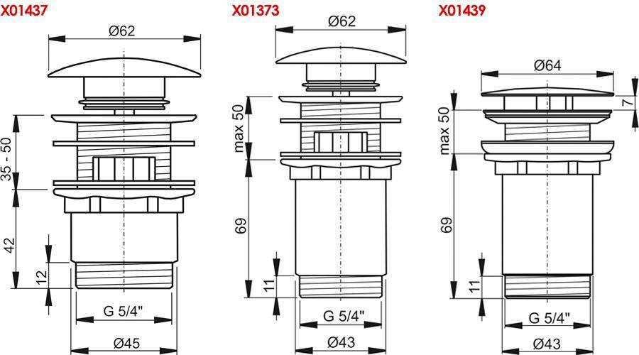 RAVAK Mosdólefolyó ClickClack rendszerrel, krómozott, cikkszám: X01373