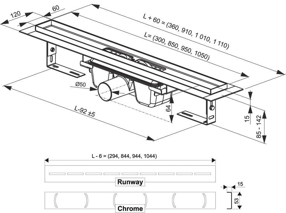 RAVAK Chrome 850 zuhanyfolyóka / rozsdamentes acél / X01427