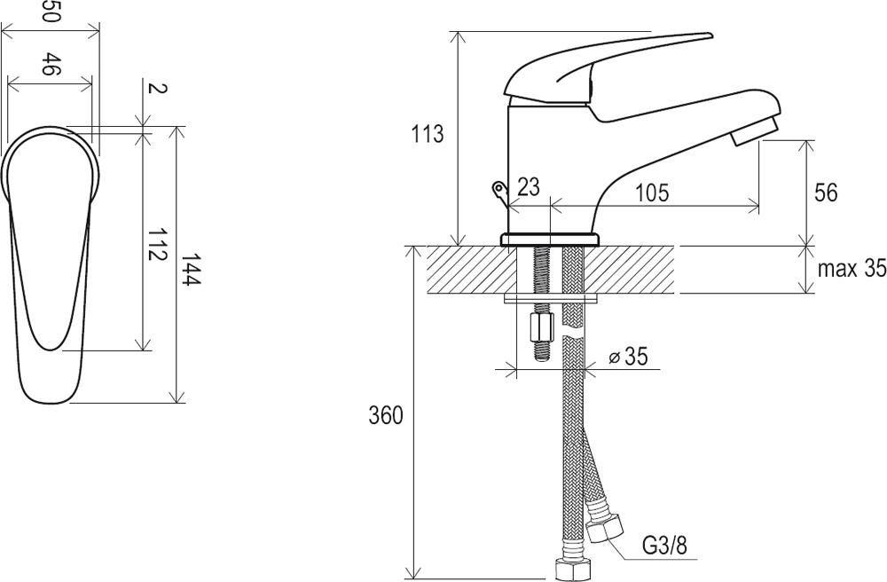 RAVAK Suzan álló mosdó csaptelep leeresztő nélkül SN 012.00, cikkszám: X070002