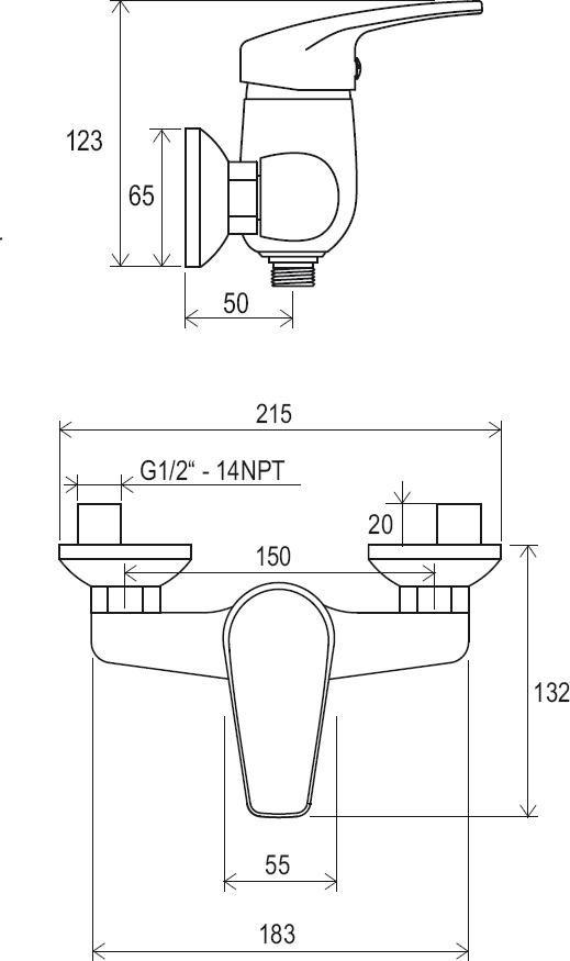 RAVAK Neo fali zuhanycsaptelep szett néllkül 150 mm NO 032.00/150, cikkszám: X070018