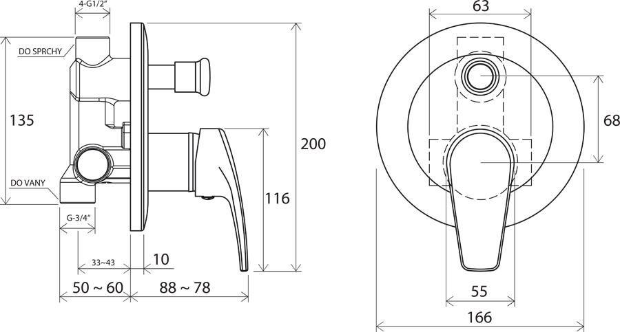 RAVAK Neo falon belüli csaptelep váltóval NO 061.00, cikkszám: X070020