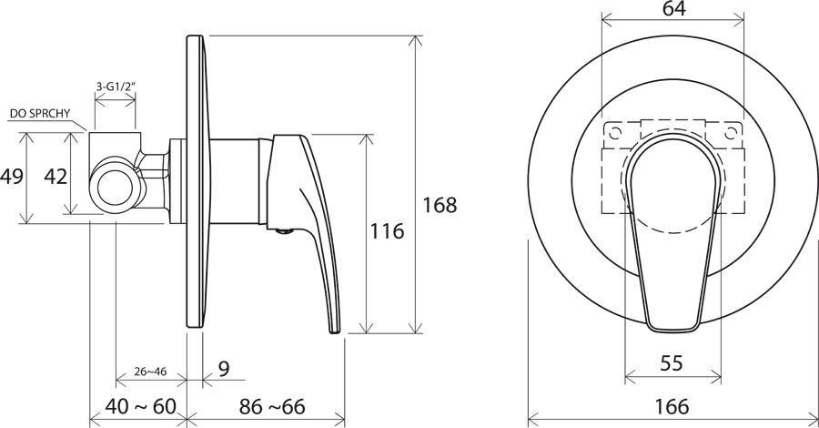 RAVAK Neo falon belüli csaptelep váltó nélkül NO 062.00, cikkszám: X070021