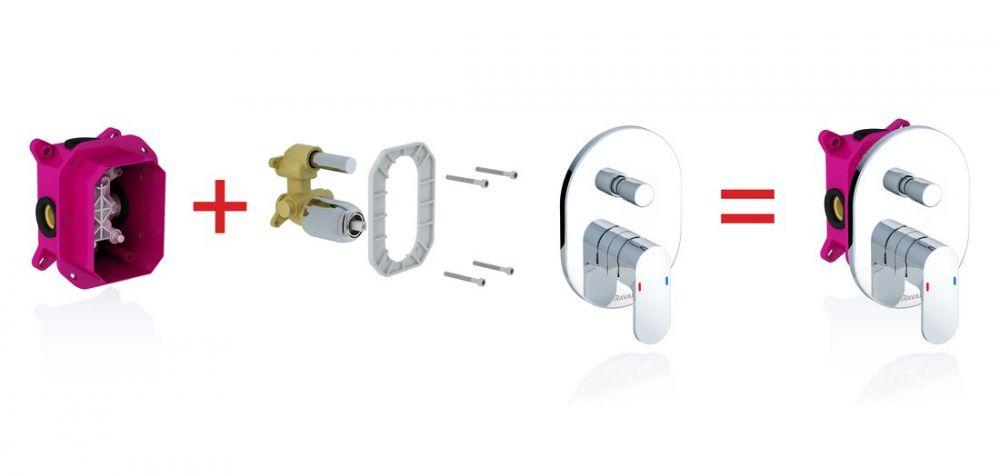 RAVAK CHROME Falba süllyesztett / beépíthető zuhany csaptelep zuhanyváltó nélkül R-Boxhoz CR 066.00, cikkszám: X070057, falsík alatti csaptelep külső, látható rész